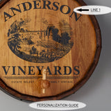 Personalized Vineyard Sign Wine Barrel Head with Spigot