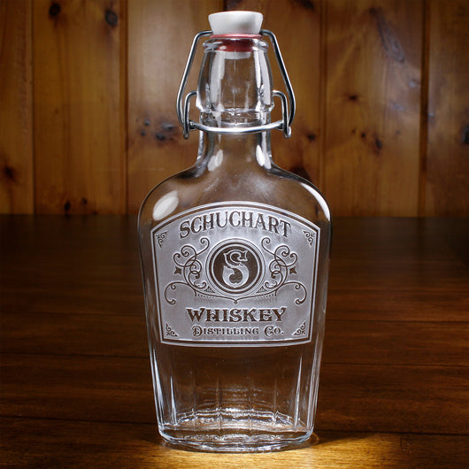 Personalized Distillery Label Glass Whiskey Flask