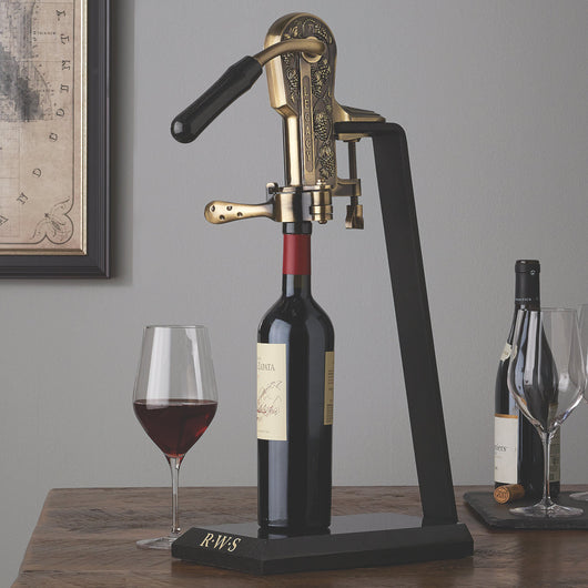 Legacy Antique Bronze Corkscrew with Monogrammed Black Marble Stand