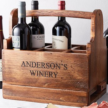 Personalized Wine Tasting Carrier with Cheeseboard