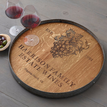 Custom Engraved Wine Barrel Lazy Susan