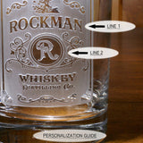 Decanter and 4 Glasses Set with Personalized Whiskey Label