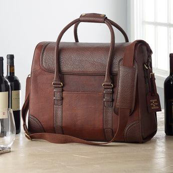 6-Bottle Leather Weekender Wine Bag (Monogrammed)