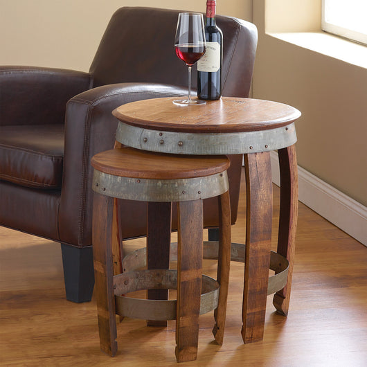 Barrel Head Nesting Tables With Stave Legs Set 2
