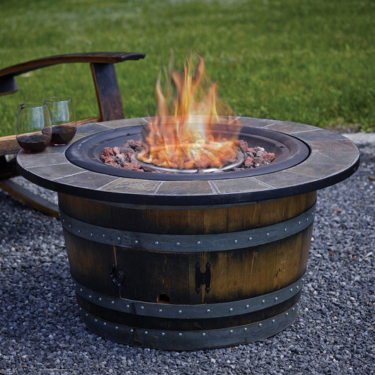 - Wine Barrel Fire Pit With Slate Top At ThirstyNest - Wine Registry