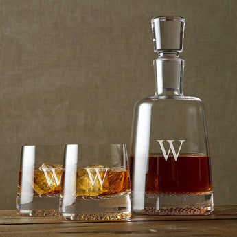 Monogrammed Single Initial Diamond Whiskey Decanter & Glasses Set