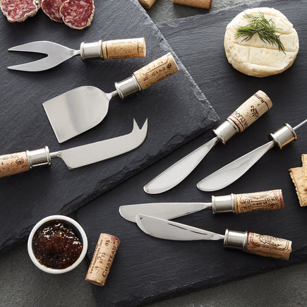 Cork Cheese Knives & Spreaders Set Kit