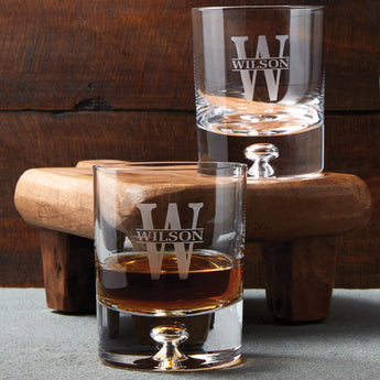 Monogrammed Lexington Whiskey Glasses, Set of 2