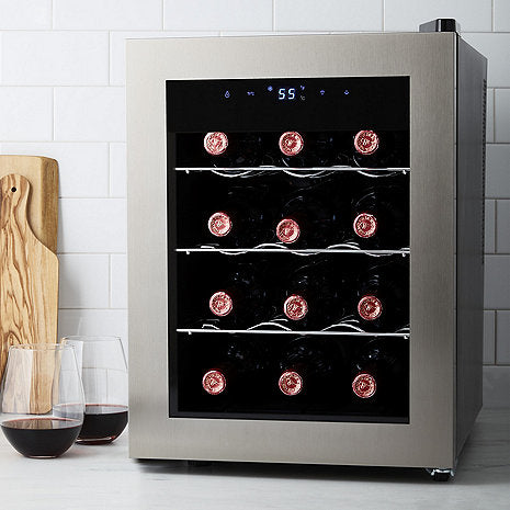 Silent 12 Bottle Wine Fridge with Stainless Steel Door