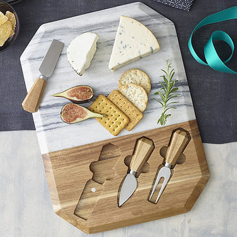 White Marble & Wood Cheeseboard with Spreaders