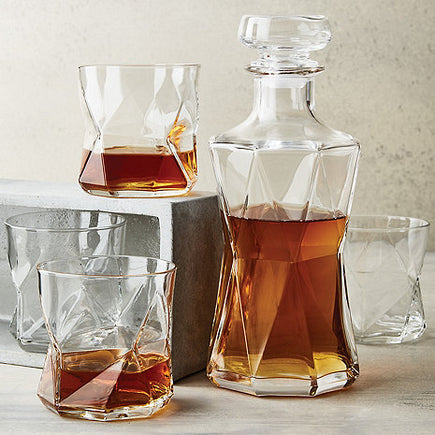 Geo Whiskey Glasses and Decanter Set