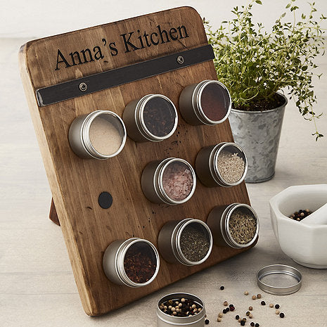 Personalized Reclaimed Barrel Spice Rack