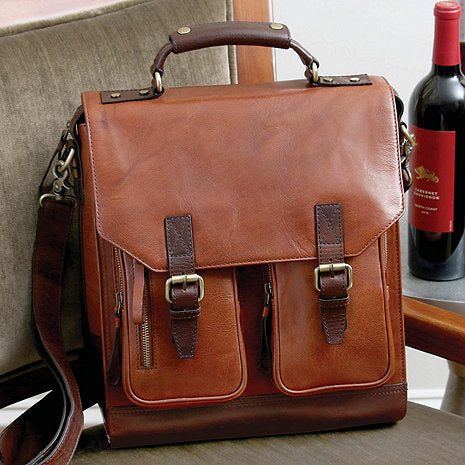 3-Bottle Leather BYO Wine Bag (Chestnut)