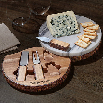 Personalized Marble and Live Edge Acacia Wood Cheese Board Set with Knives