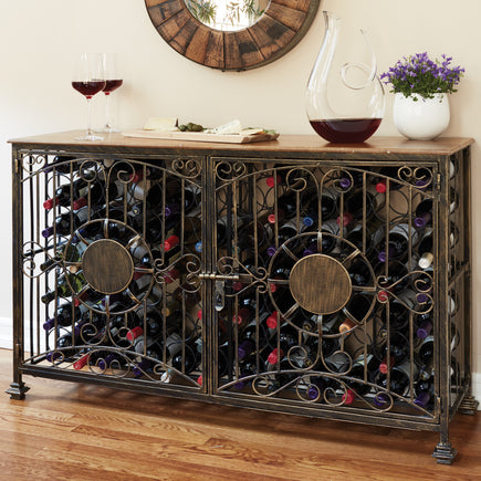 84-Bottle Antique Steel Jail Console with Wine Storage