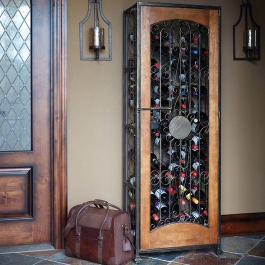 Wood Accented 96 Bottle Wine Jail
