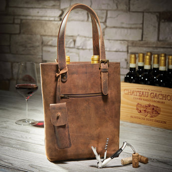 Personalized Genuine Buffalo Leather 2-Bottle Wine Tote With Waiter's Corkscrew