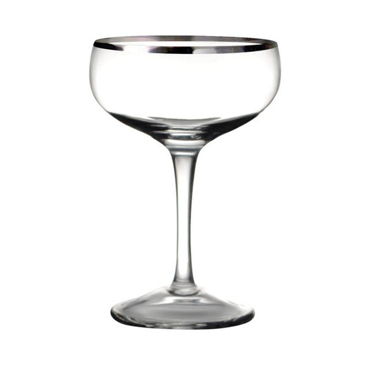 Leopold Coupe Glass - Silver Trim - Set of 6