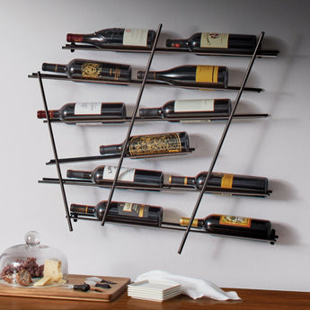 12 Bottle Wall Rack- Black
