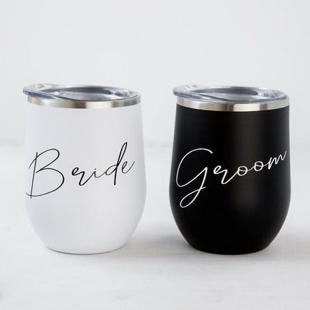 Bride and Groom Stemless Travel Wine Tumblers