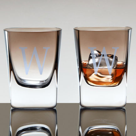 Personalized Jennings Whiskey Glasses With Smoke Ombré Finish (Set of 2) - Single initial