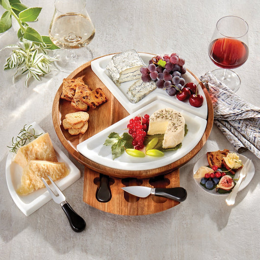 Marble and Acacia Wood Multi-Sectional Cheese Board & Knife Set