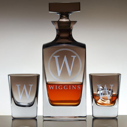 Personalized Jennings Whiskey Decanter & Glasses Set with Smoke Ombré Finish - Wiggins Design