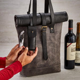 Genuine Buffalo Leather 2-Bottle Roll Top Wine Tote with Waiter's Corkscrew (Black & Grey)