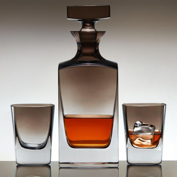 Jennings Whiskey Decanter & Glasses Set with Smoke Ombré Finish
