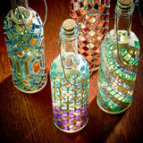 Mosaic Wine Bottle Lantern Set