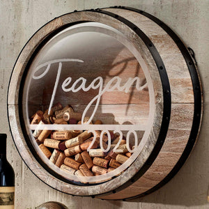 Personalized Whitewash Barrel Head Cork Catcher Teagan Design with year