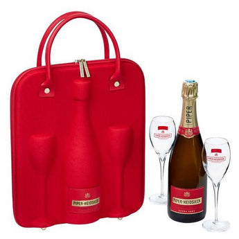 Piper-Heidsieck NV Brut w/ Travel Case and 2 Champagne Flutes