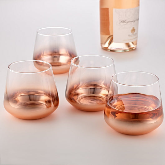 Rose Gold Metallic Tumblers (Set of 4