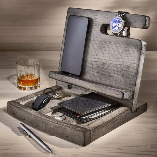 Reclaimed Wine Barrel Men's Deluxe Valet (Gray Finish)