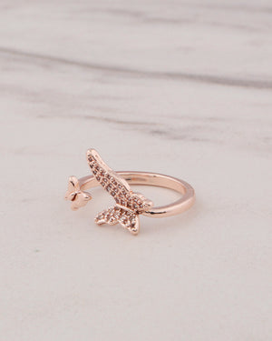 Adjustable Butterfly Ring - Rose Gold