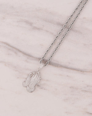 Prayer Hand Necklace - Silver