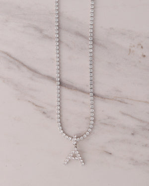 Tennis Letter Necklace - Silver