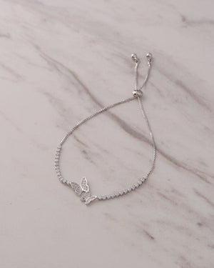 Butterfly Tennis Bracelet - Silver (Adjustable)
