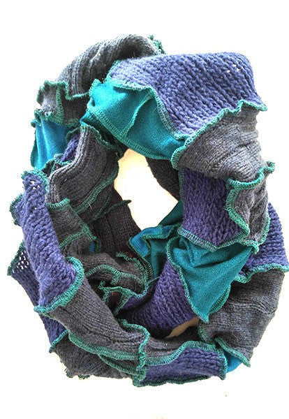 Blue Patchwork Scarf - FOAT  - 1