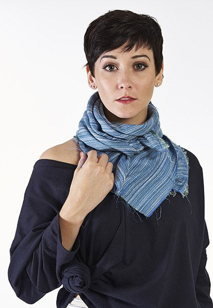 Blue Cotton & Silk Scarf - FOAT