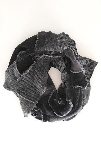 Dark Grey Patchwork Scarf - FOAT  - 1