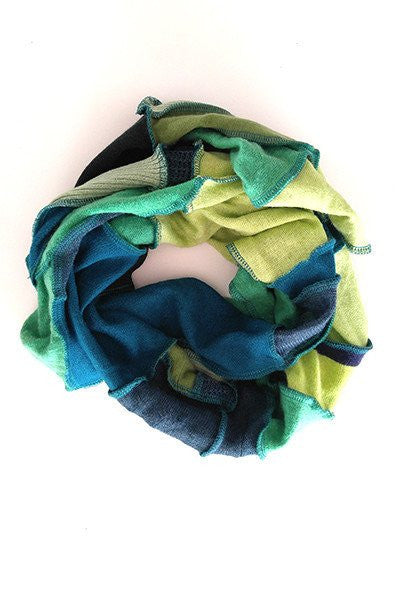 Green Patchwork Scarf - FOAT  - 1