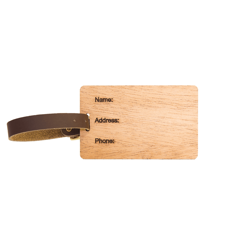 Wood Luggage Tags - Woodchuck USA - Mahogany side 2