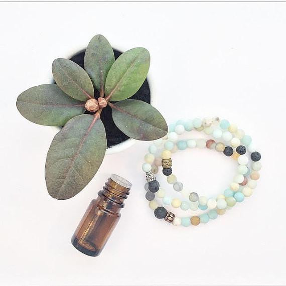 My Naptime Jewelry - Frosty Amazonite Diffuser Stone Stacking Bracelet
