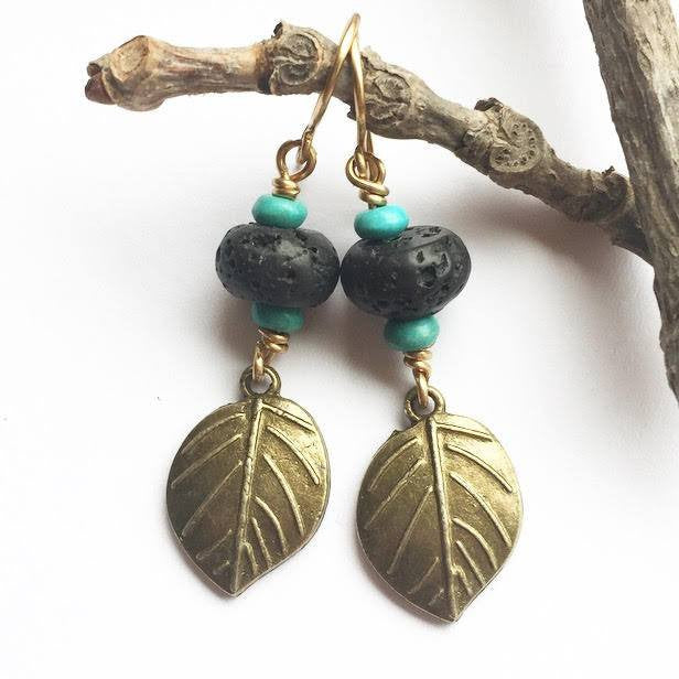 My Naptime Jewelry - Bronze Leaf Earrings with Diffuser Stones