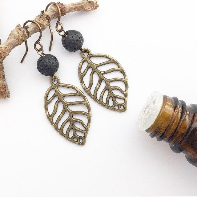 My Naptime Jewelry - Earthy Bronze Leaf Earrings with Diffuser Beads