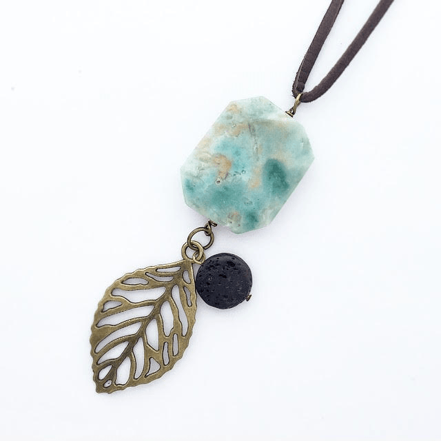 My Naptime Jewelry - Blue Peruvian Opal Gemstone Diffuser Necklace w/ Bronze Embellishment