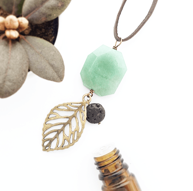My Naptime Jewelry - Jade Diffuser Stone Leather Necklace with Bronze Embellishment