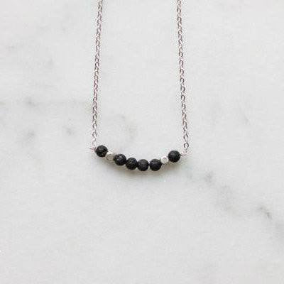 My Naptime Jewelry - Minimalist Black and Silver Lava Bead Diffuser Stone Necklace