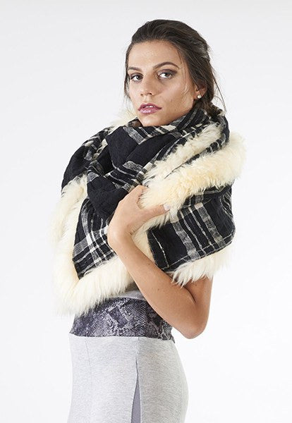 Plaid Scarf with Fur - FOAT